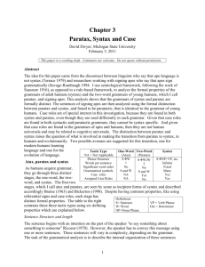 Paratax, syntax and case - Michigan State University