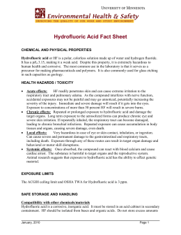 Hydrofluoric Acid Fact Sheet - the Department of Environmental
