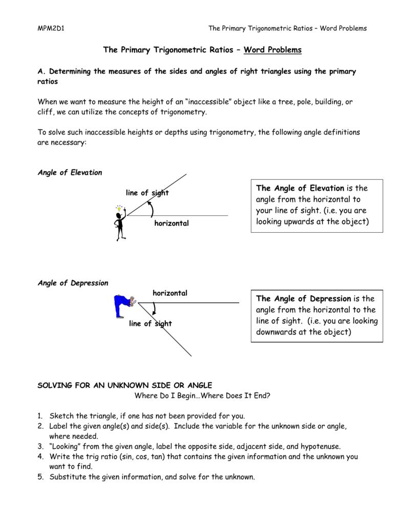 The Primary Trigonometric Ratios – Word Problems