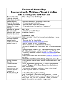 Poetry and Storytelling: Incorporating the Writings of Frank X Walker