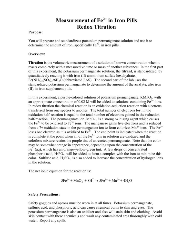 Lab redox titration of fe2 iron pills biocorpaavc