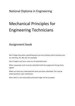 National Diploma in Engineering Mechanical Principles for