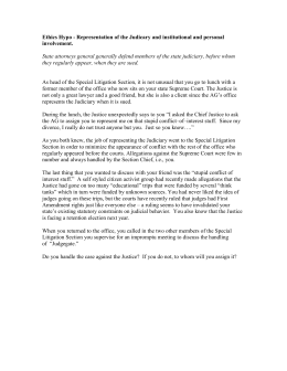 Ethics of Representation of the Judiciary and Institutional and