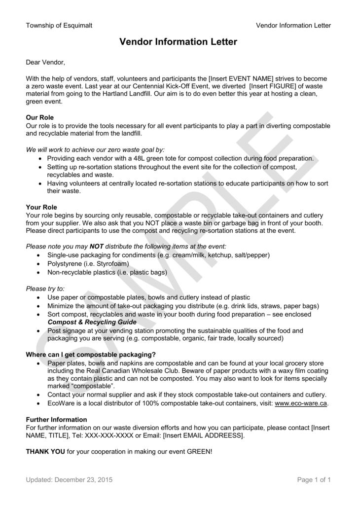 Vendor Information Letter