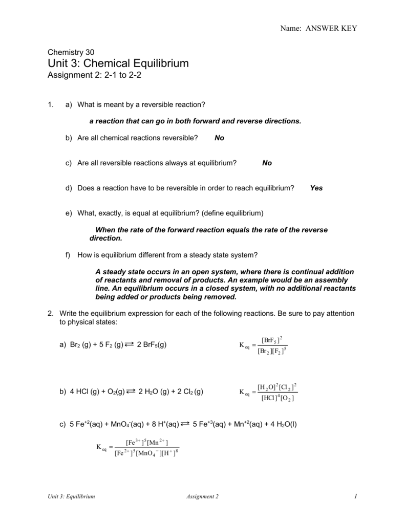 worksheet Chemical Equilibrium Worksheet Answers unit 3 chemical equilibrium assignment 2 answers 100 images related to answers