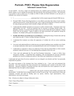 Consent form for Photo facial and Sun
