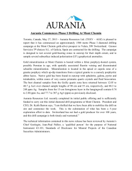 Aurania Commences Phase I Drilling At Mont Chemin Toronto
