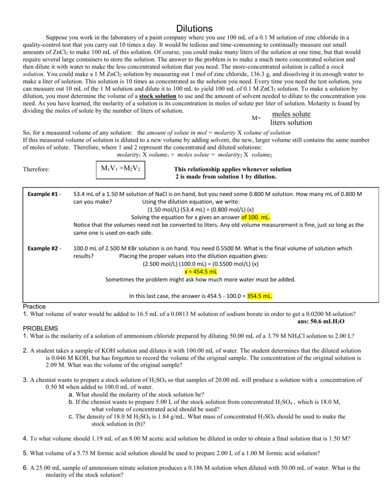 worksheet Solutions Worksheet 2 Molarity And Dilution Problems Answers dilutions notes and q a
