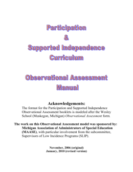 Participation & Supported Independence Curriculum