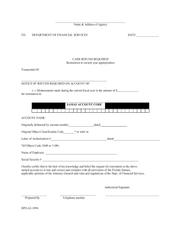 State of Florida Expenditure Refund Form
