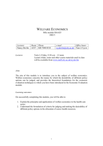 WELFARE ECONOMICS - staff.city.ac.uk