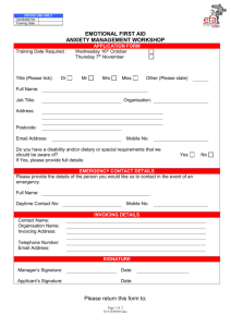 Anxiety Management Workshop Application form 2013