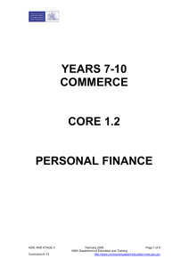 Personal finance - Curriculum Support