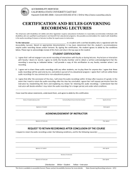 certification and rules governing recording lectures