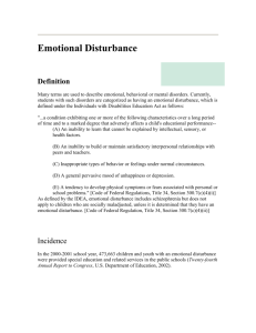Emotional/Behavioral Disorder