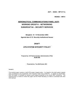 Asia/Pacific ATN System Integrity Policy