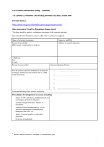 Risk Assessment Form For Transgenic Animal (rev4)