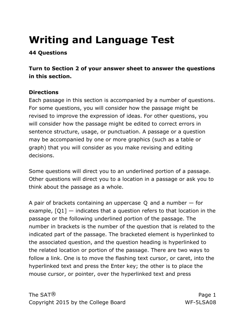 - SAT Practice Writing And Language Test 3 For