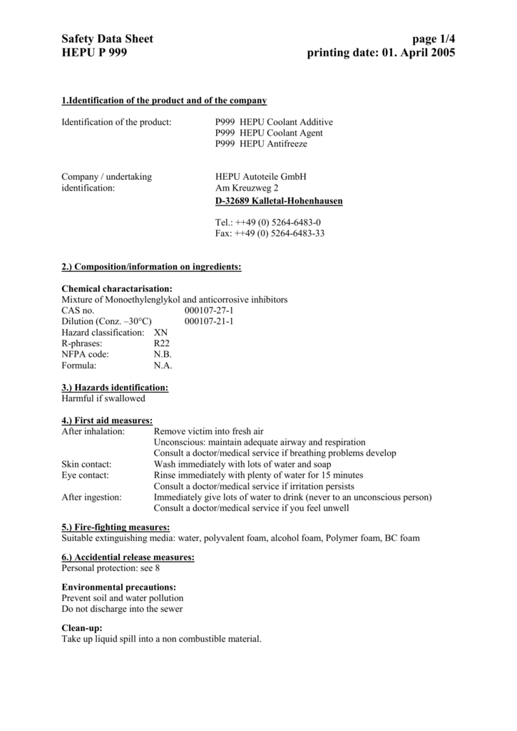 Safety Data Sheet Page 1 4