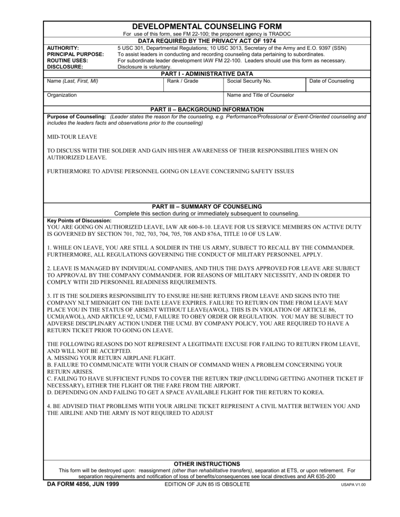 Developmental Counseling FORM – Army Counseling Form