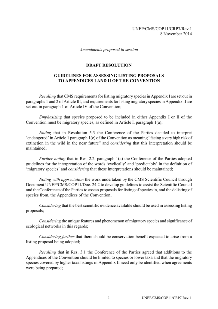 Draft Resolution on Guidelines for Assessing Listing