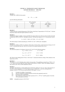 CHEMICAL THERMODYNAMICS PROBLEMS