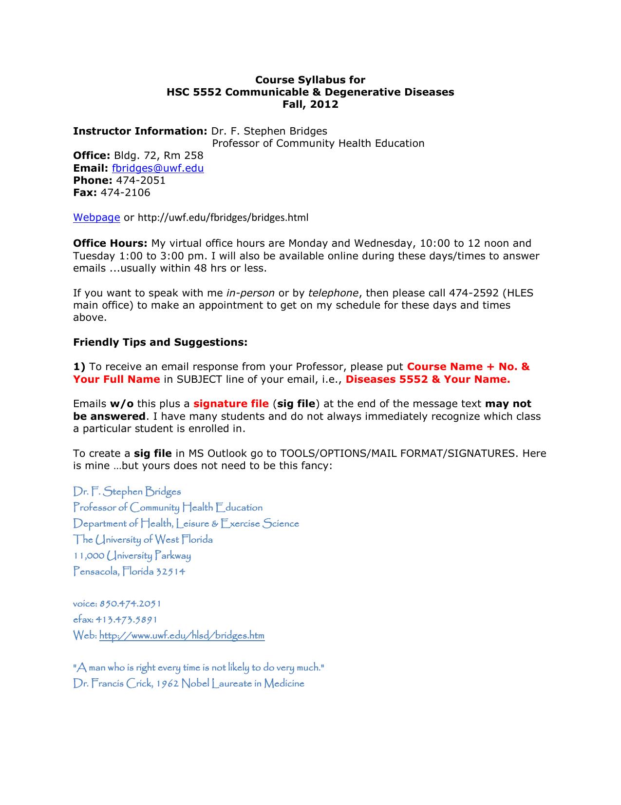 Course Syllabus For Hsc 5552 Communicable Degenerative