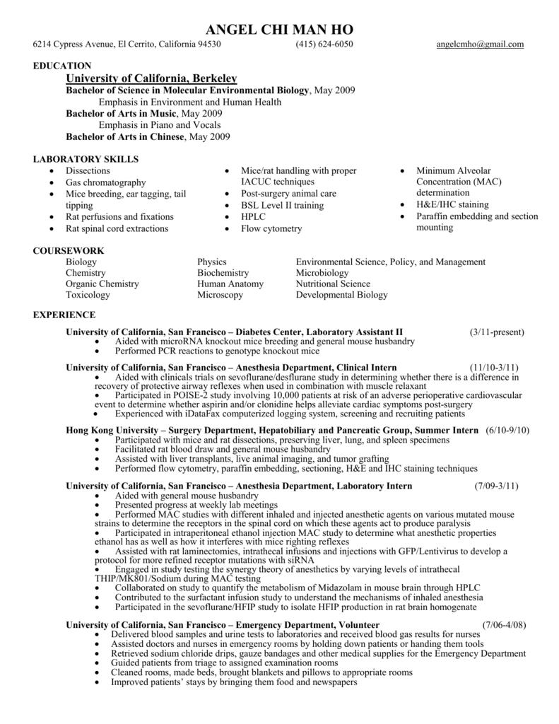 Angel`s resume - McManus Lab - University of California, San