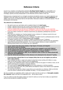 Reference Criteria form - Key Stage Teacher Supply Agency