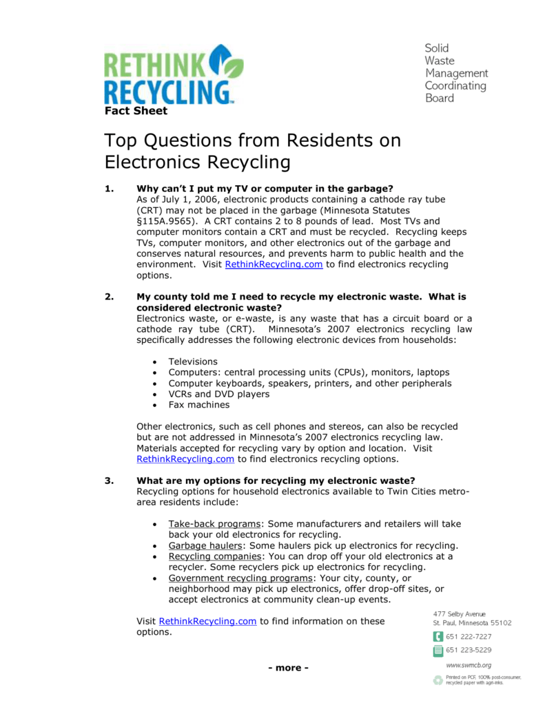 Fact Sheet Top Questions From Residents Recycling Technology Cell Phone Circuit Board