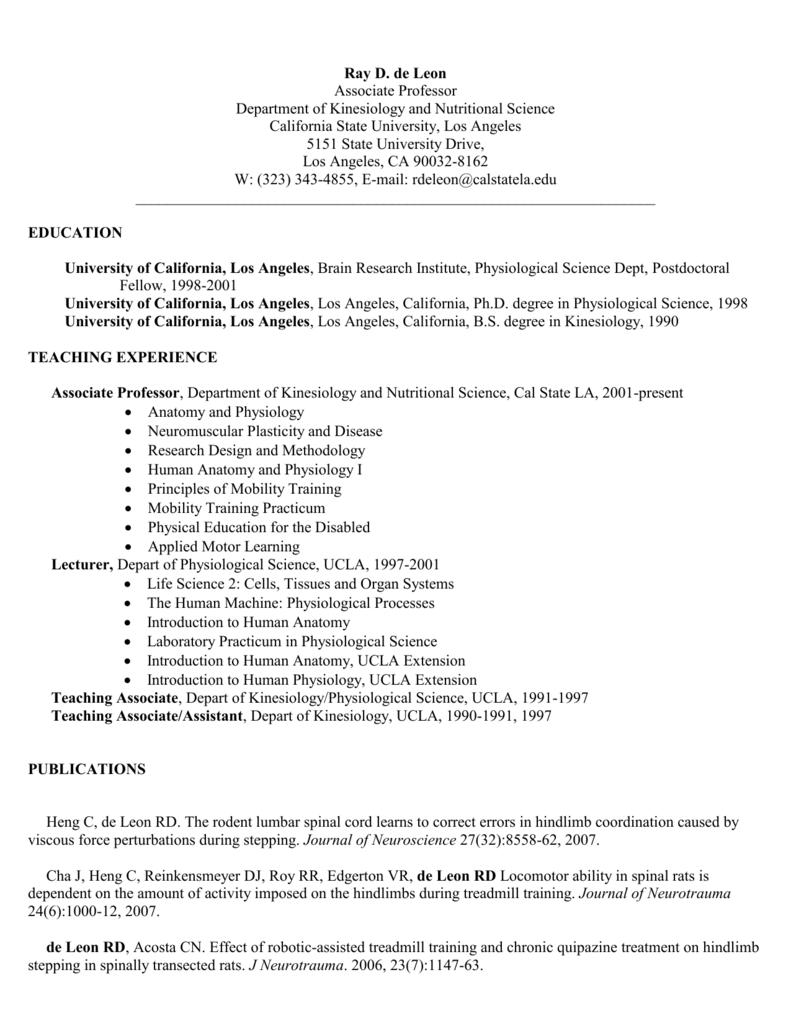 Curriculum Vitae California State University Los Angeles