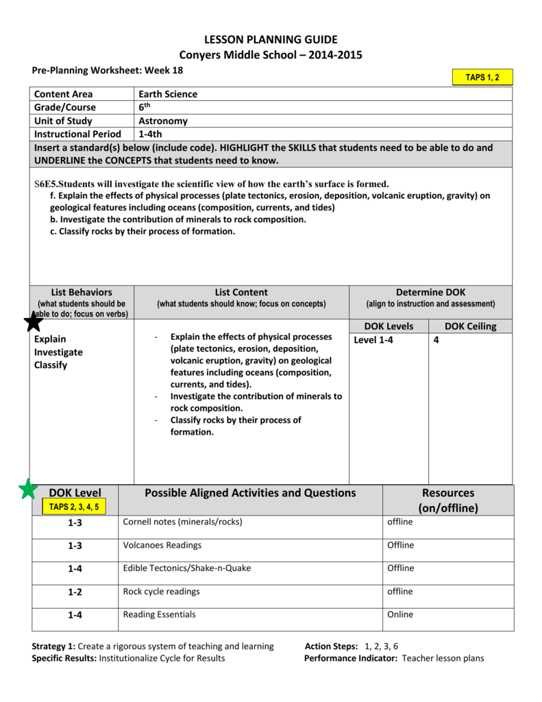LESSON PLANNING GUIDE Conyers Middle School 2014 – Gravity Worksheet Middle School