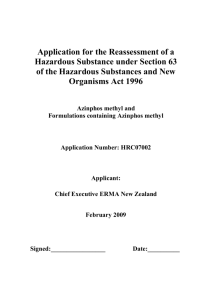 Application for the Reassessment of a Hazardous Substance under