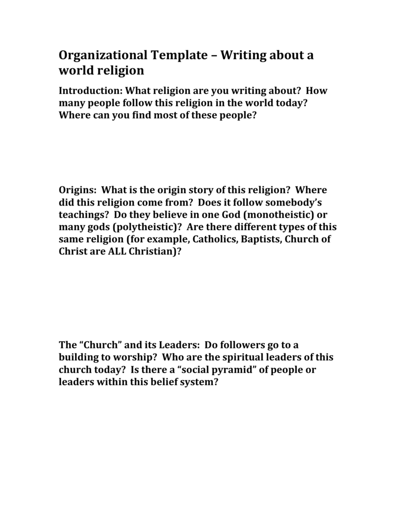 Organizational Template – Writing about a world religion
