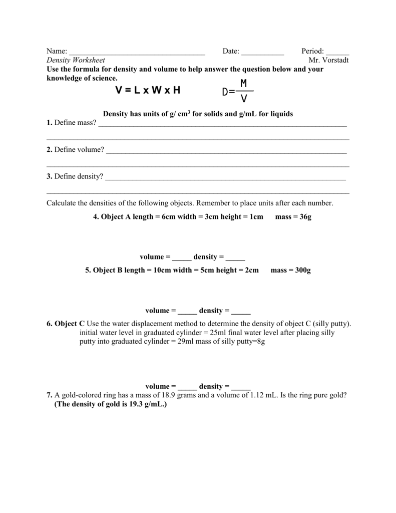 worksheet Water Displacement Worksheet density worksheet number 2