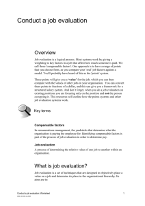 Job evaluation worksheet
