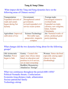 Chapter 12 Guided Reading: Tang and Song China