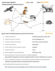 Ecology Quiz #1 - Answers