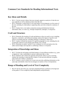 Common Core Standards for Reading Informational Texts