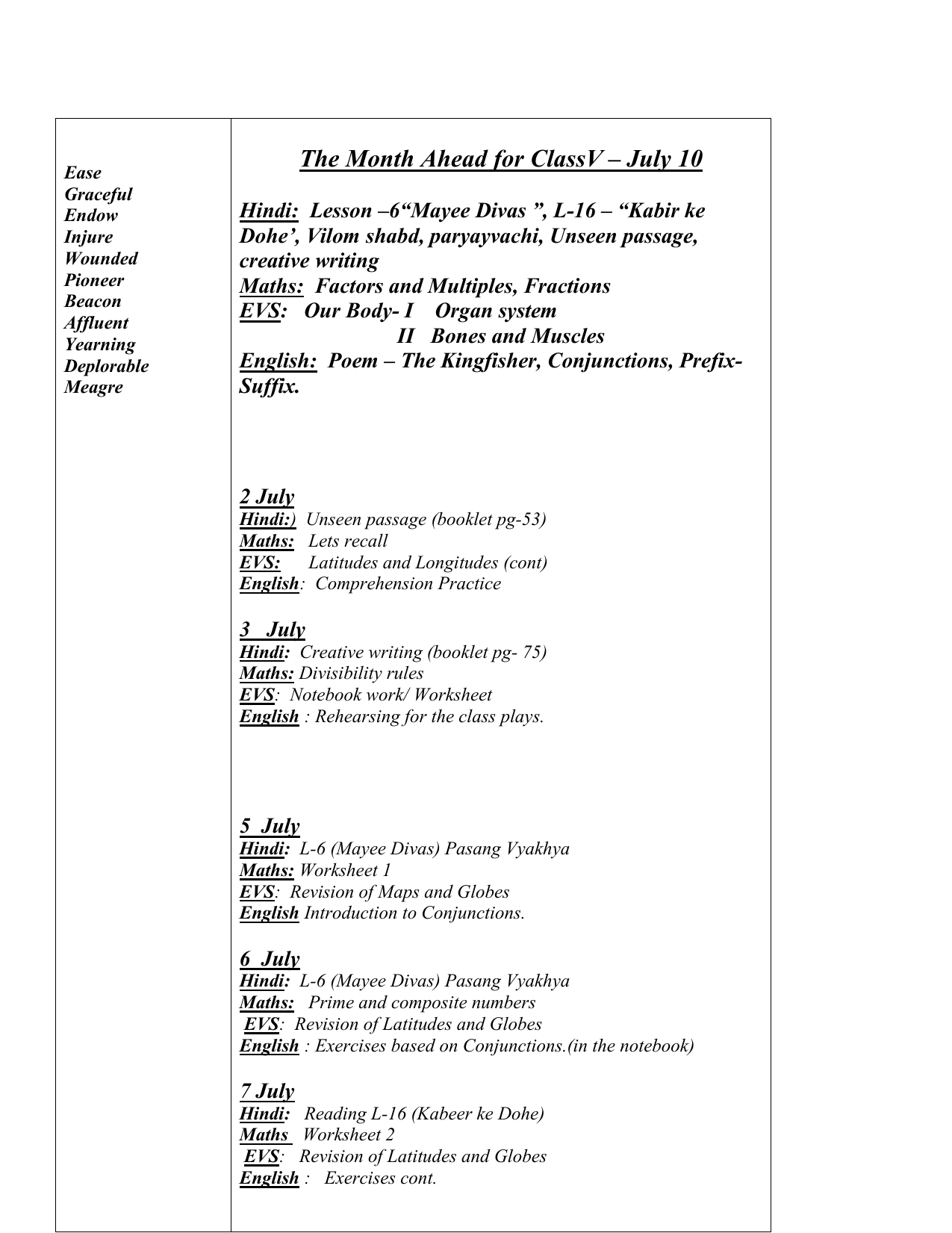 worksheet Hindi Grammar Worksheets For Class 6 monthly planner class v