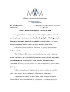 For immediate release - Michigan Veterinary Medical Association