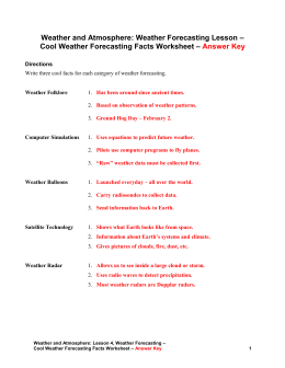 Cool Weather Forecasting Facts – Answer Key
