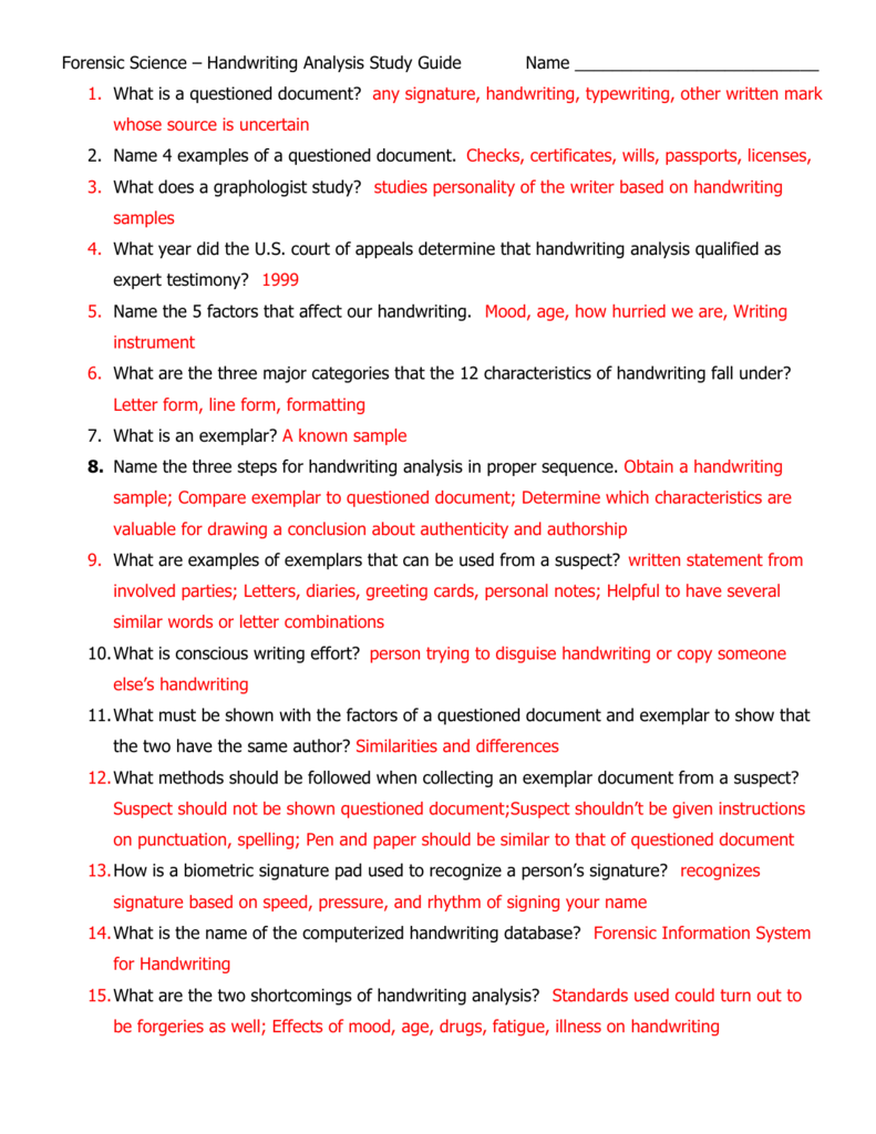 Forensic Science Handwriting Analysis Study Guide