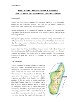 Report on being a Research Assistant in Madagascar with The