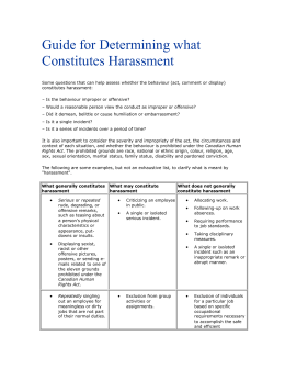 Guide for Determining what Constitutes Harassment