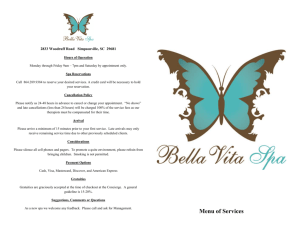 Spa Menu - Bella Vita Spa
