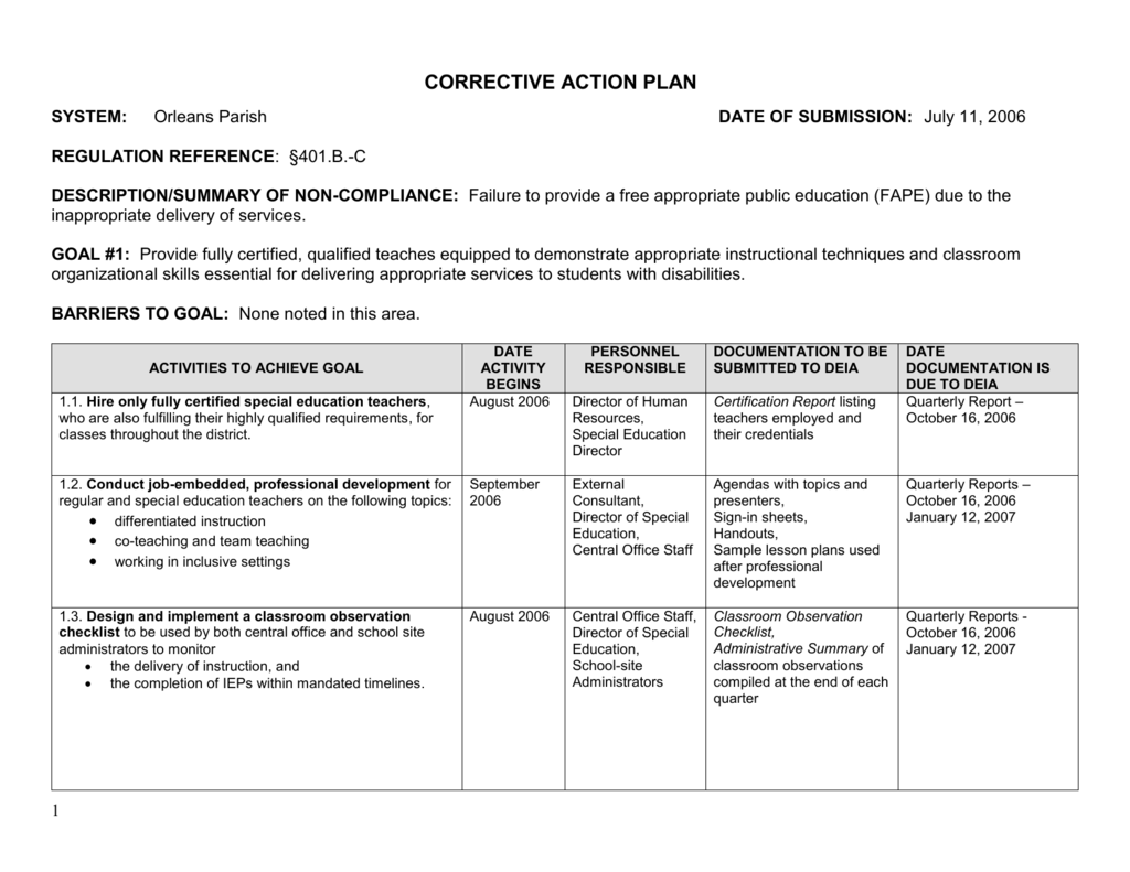 corrective action plan louisiana department of education
