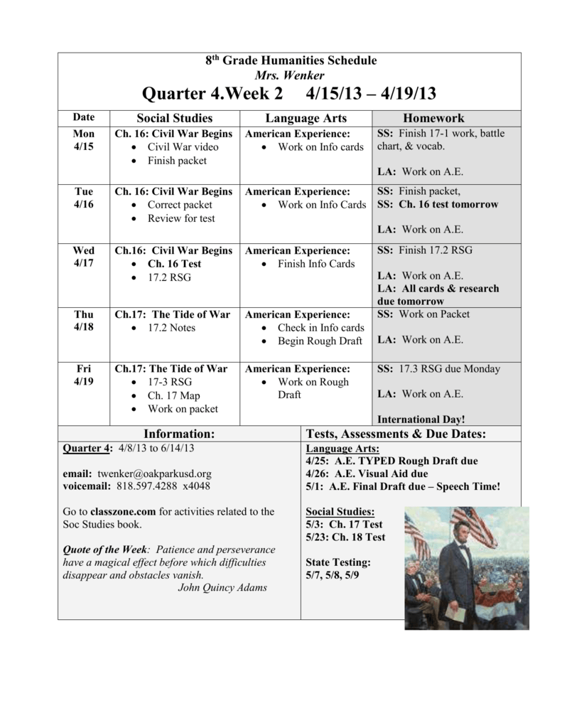 8th grade humanities schedule nvjuhfo Images