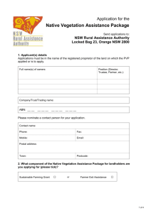 Application for Native Vegetation Assistance Package
