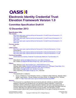 Electronic Identity Credential Trust Elevation Framework Version 1.0